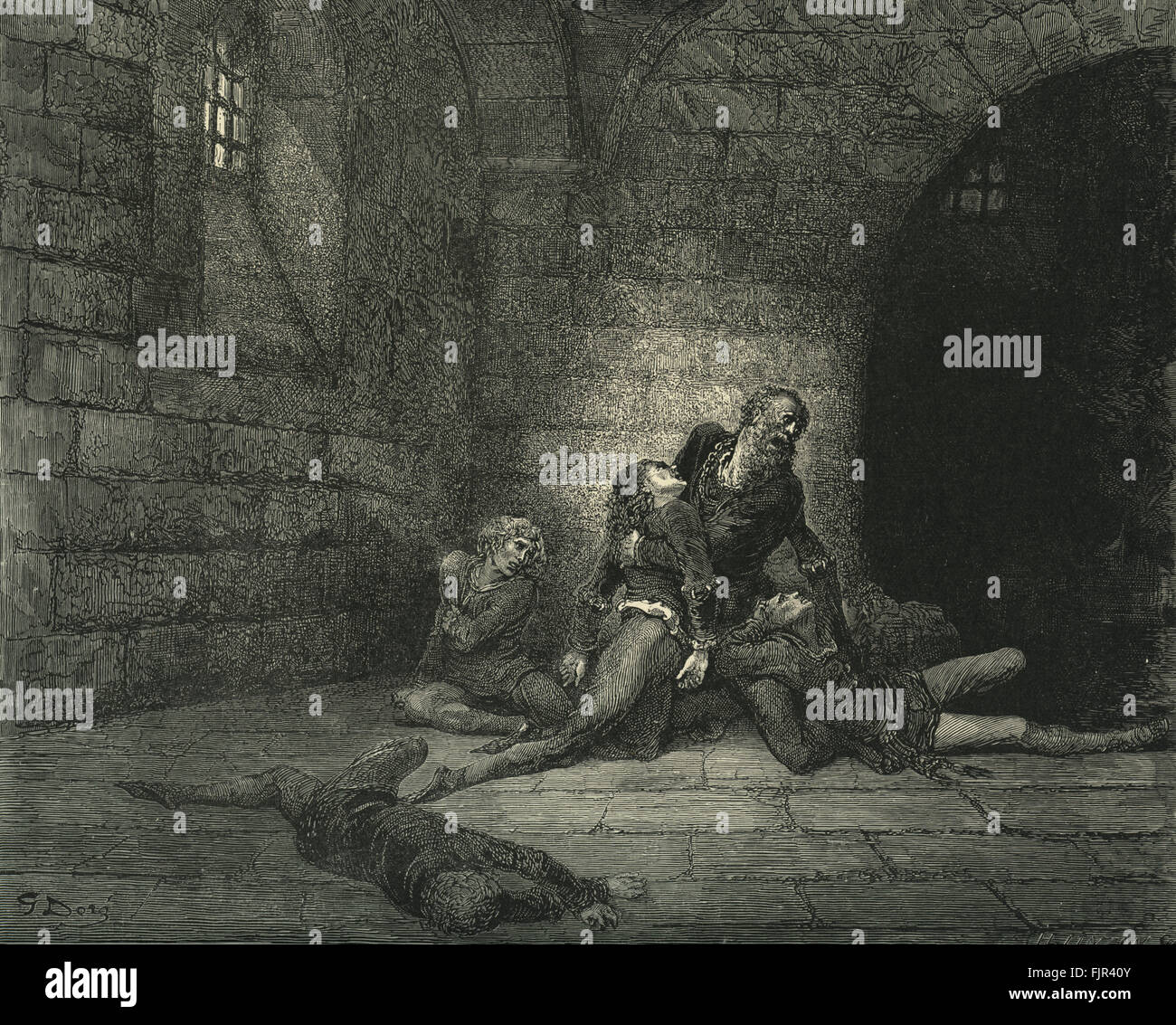 Dante Alighieri, La Divina Commedia, L'Inferno (The Divine Comedy, Hell) - Canto XXXIII (33): illustration by - Stock Image