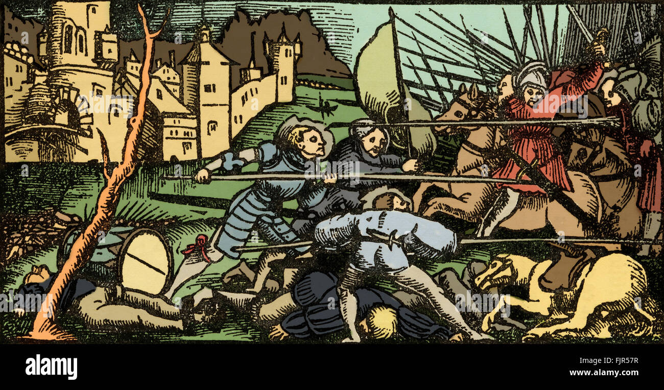 A pitched Battle, woodcut by Urs Graf, 1521, from two tales of Chivalry. Pikemen on foot attack soldiers on horseback - Stock Image