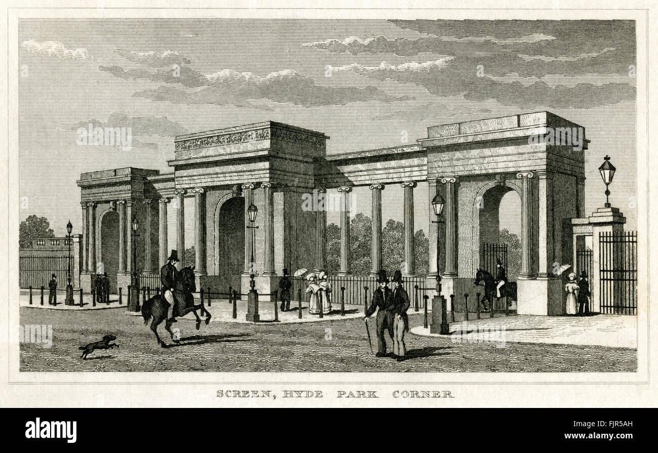 Screen, Hyde Park Corner, London 1853. Designed by Decimus Burton (1800 – 1881) - Stock Image