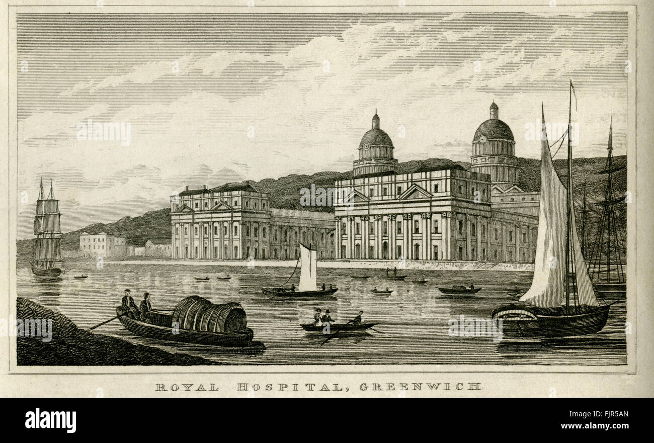 Royal Hospital, Greenwich, London 1853, view of King Charles' and Queen Anne's buildings, built in 1664 - Stock Image