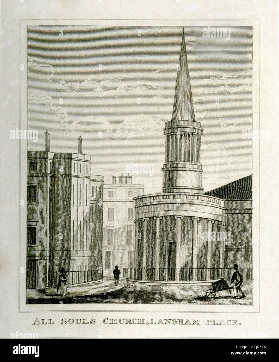 All Souls Church, Langham Place, London 1853. Designed by John Nash (1752 – 1835). Consecrated 1824. Stock Photo