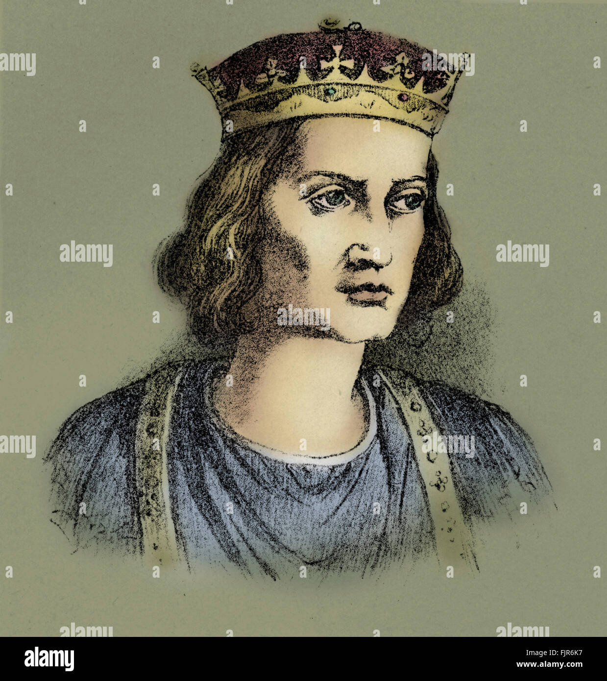 Stephen, often referred to in history as Stephen of Blois, ( 1096 – 1154), was the last Norman King of England. - Stock Image