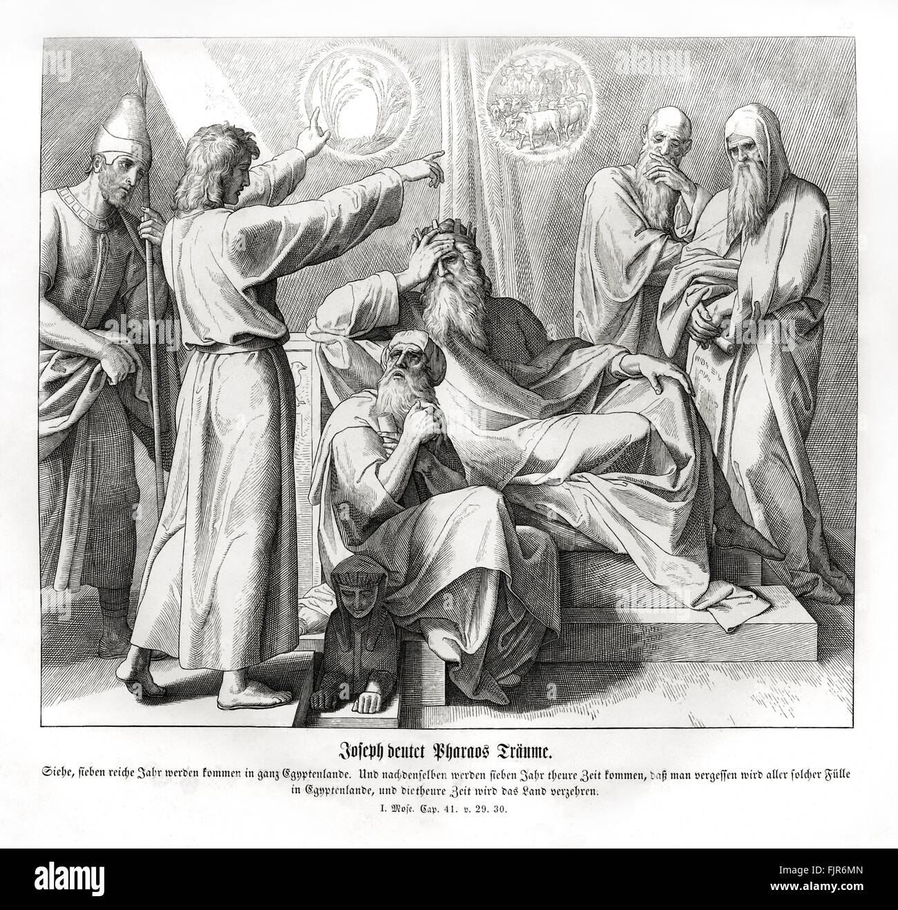 Joseph interprets the Pharoah's dreams, Genesis chapter XLI verses 29 - 30 'Behold, there come seven years - Stock Image