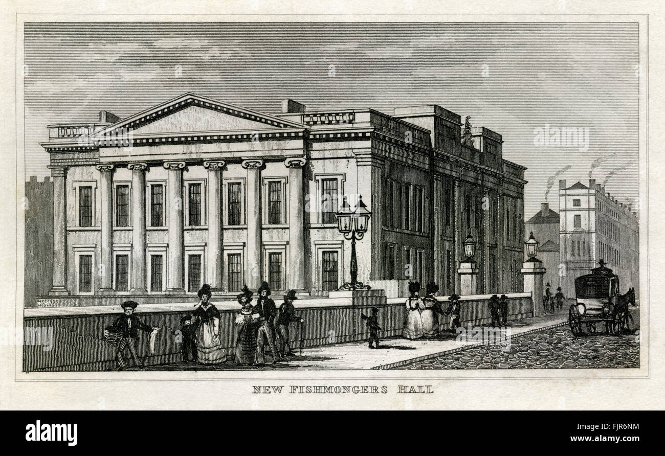 New Fishmongers' Hall by London Bridge, London. From 1835 print. - Stock Image