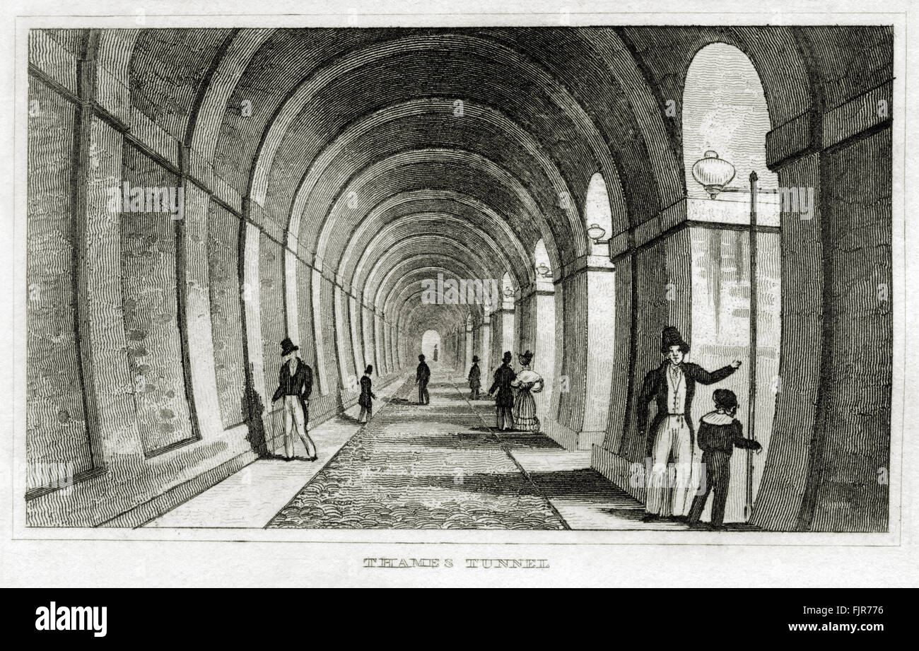 Thames Tunnel, completed in 1843 by Isambard Kingdom Brunel (1806 – 1859) London. From 1835 print depicting the - Stock Image