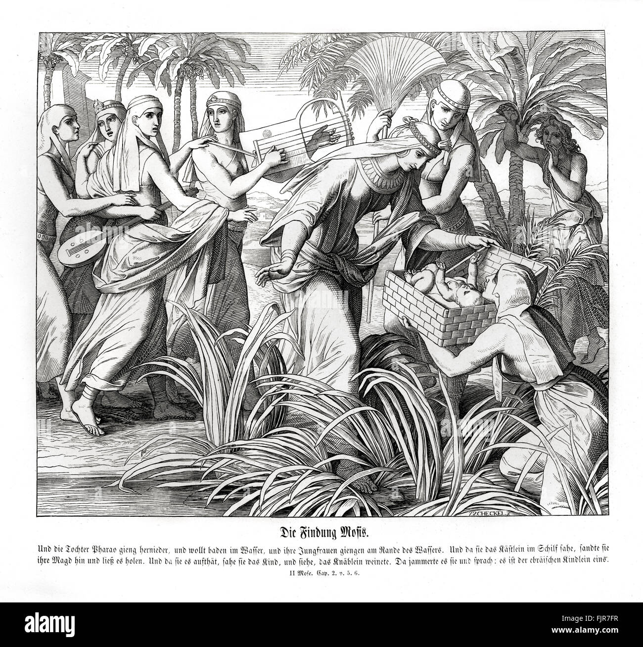 Moses is discovered in the reeds, Exodus chapter II verses 5 - 6 'And the daughter of Pharaoh came down to wash - Stock Image