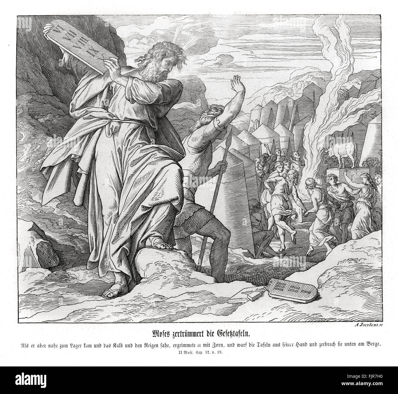 Moses breaks the commandment tablets, Exodus chapter XXXII verse 19 'And it came to pass, as soon as he came - Stock Image