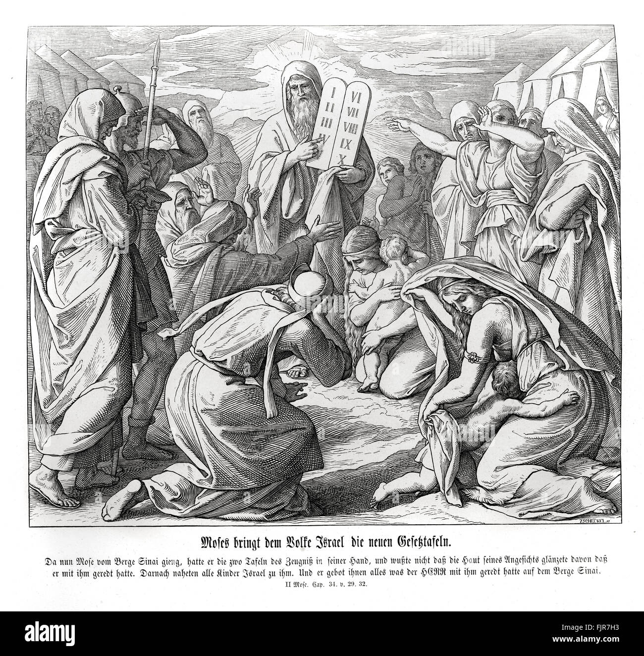 Moses delivers the commandments to the Israelites, Exodus chapter XXXII verses 26 - 27 'And it came to pass, - Stock Image