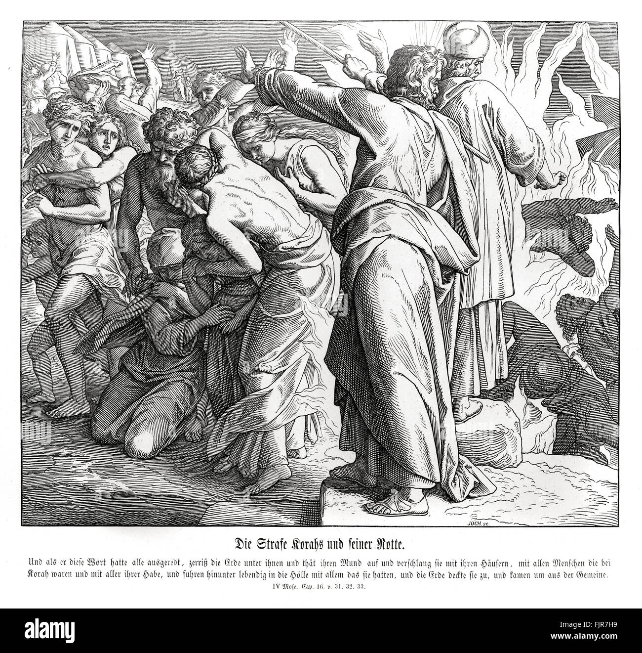 The punishment of Korah, Numbers chapter XVI verses 31 - 33 'And it came to pass, as he had made an end of speaking - Stock Image