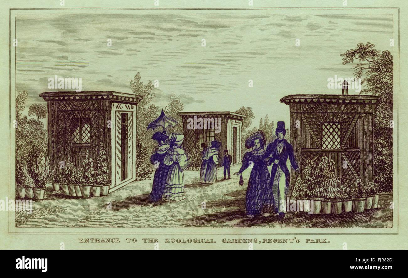 Entrance to Regent's Park Zoo, London 1835 Stock Photo