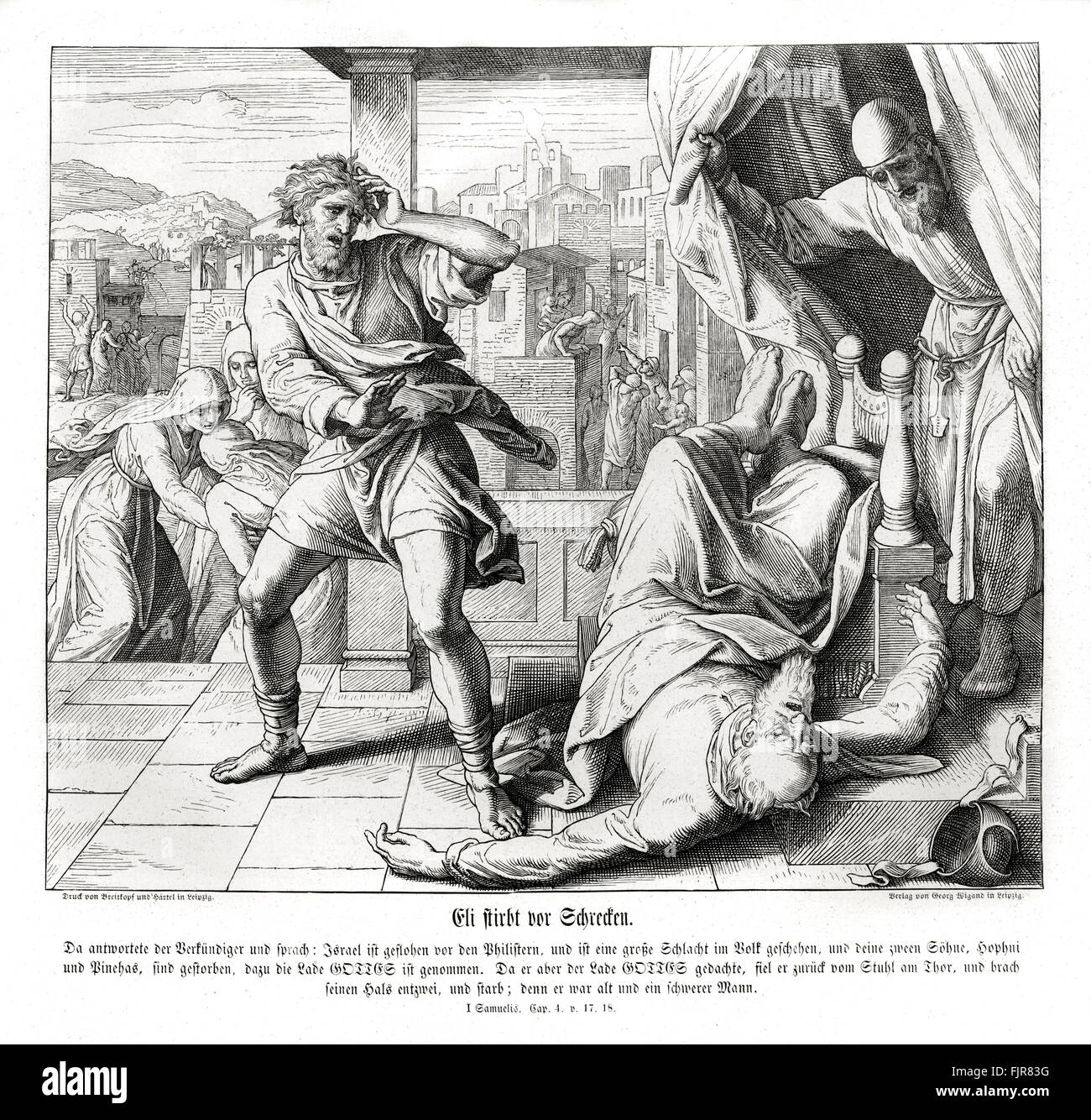Death of Eli, 1 Samuel chapter IV verses 17 - 18 'And the messenger answered and said, Israel is fled before - Stock Image