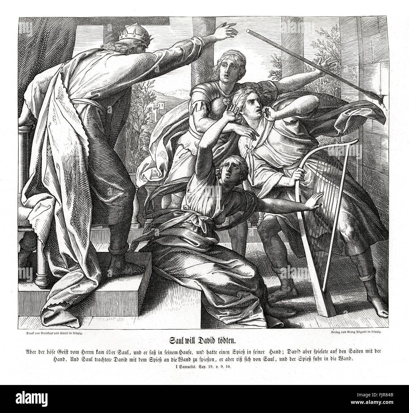 Saul tries to kill David, 1 Samuel chapter XIX verses 9 - 10 'And the evil spirit from the Lord was upon Saul, - Stock Image