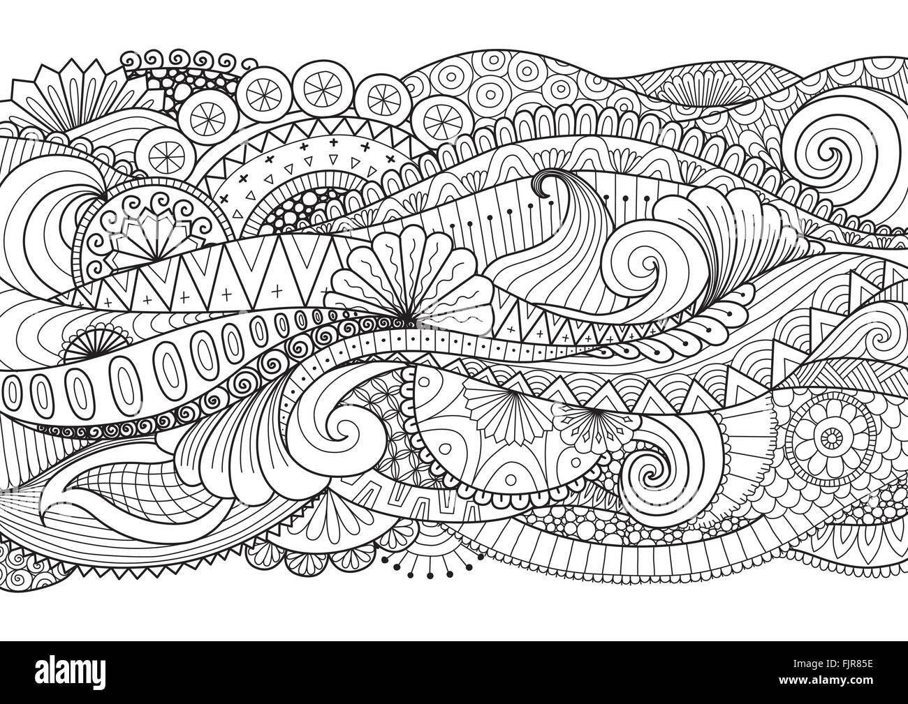 Beautiful abstract floral wave for banner,background, adult coloring ...