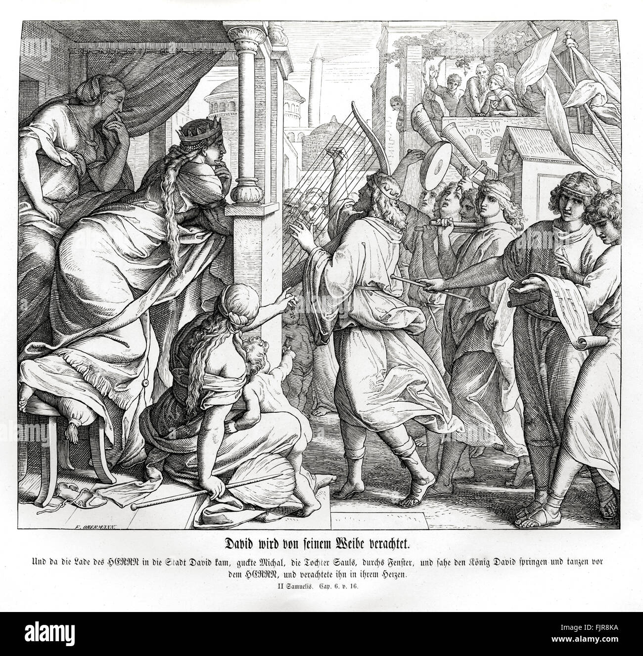 David is despised by Michal, 2 Samuel chapter VI verse 16 'And as the ark of the Lord came into the city of - Stock Image