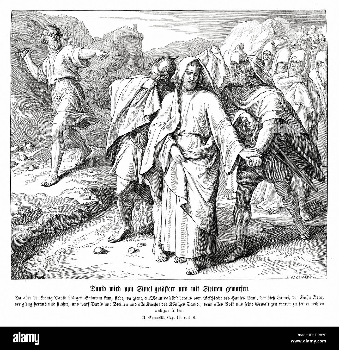 Shimei curses and throws stones at King David, 2 Samuel chapter XVI verses 5 - 6 'And when king David came to - Stock Image