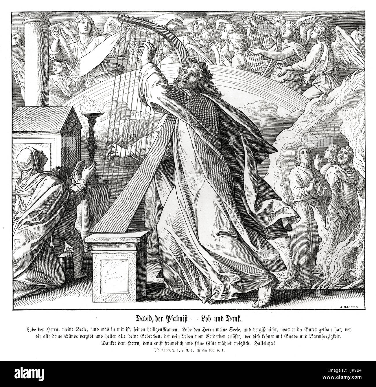 David the psalmist, Book of Psalms - praise and thanks, psalms 103 and 106, 1852-60 illustration by Julius Schnorr - Stock Image