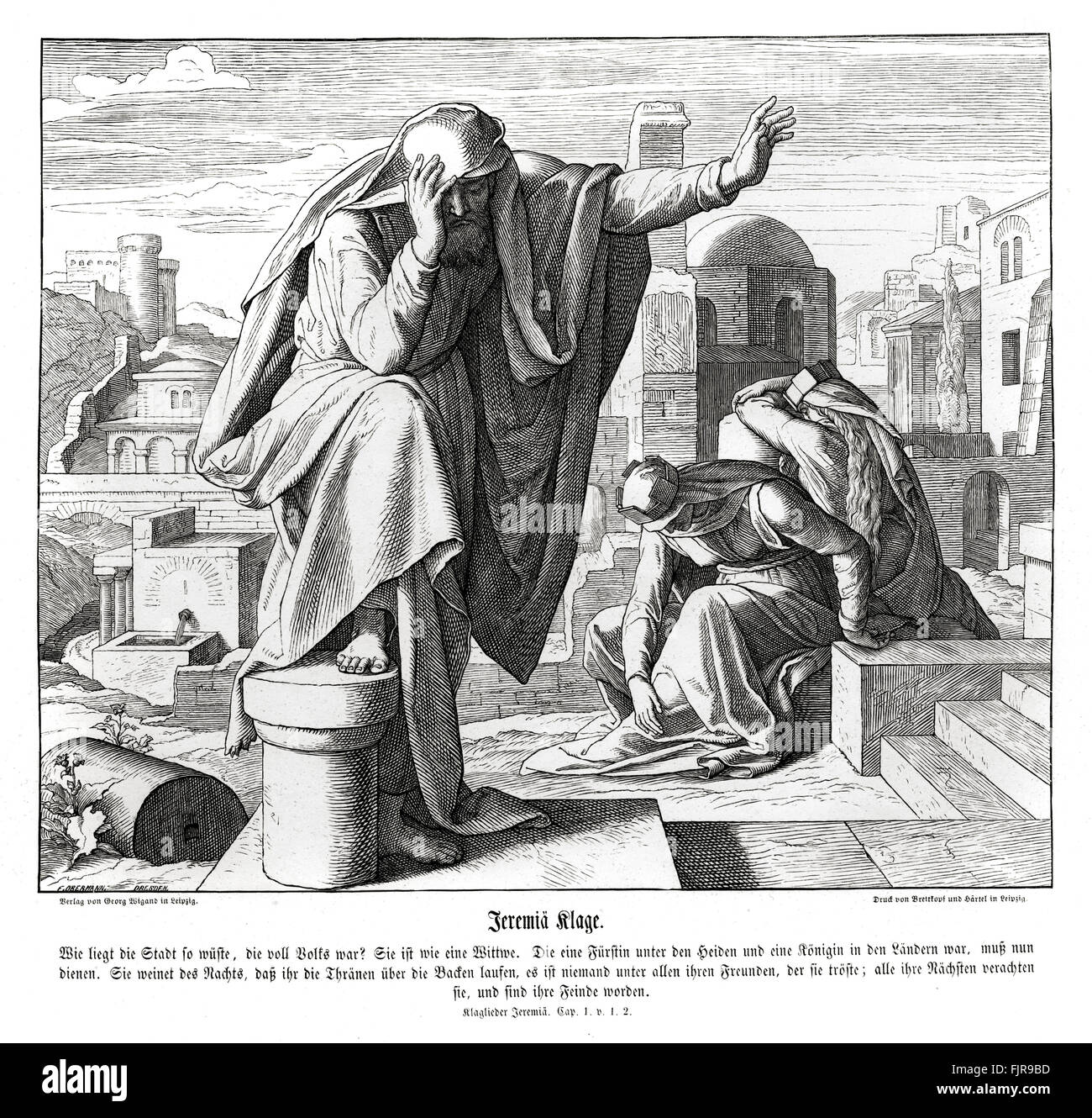 Jeremiah's lamentations, Lamentations chapter I verses 1 - 2 'How doth the city sit solitary, that was full - Stock Image