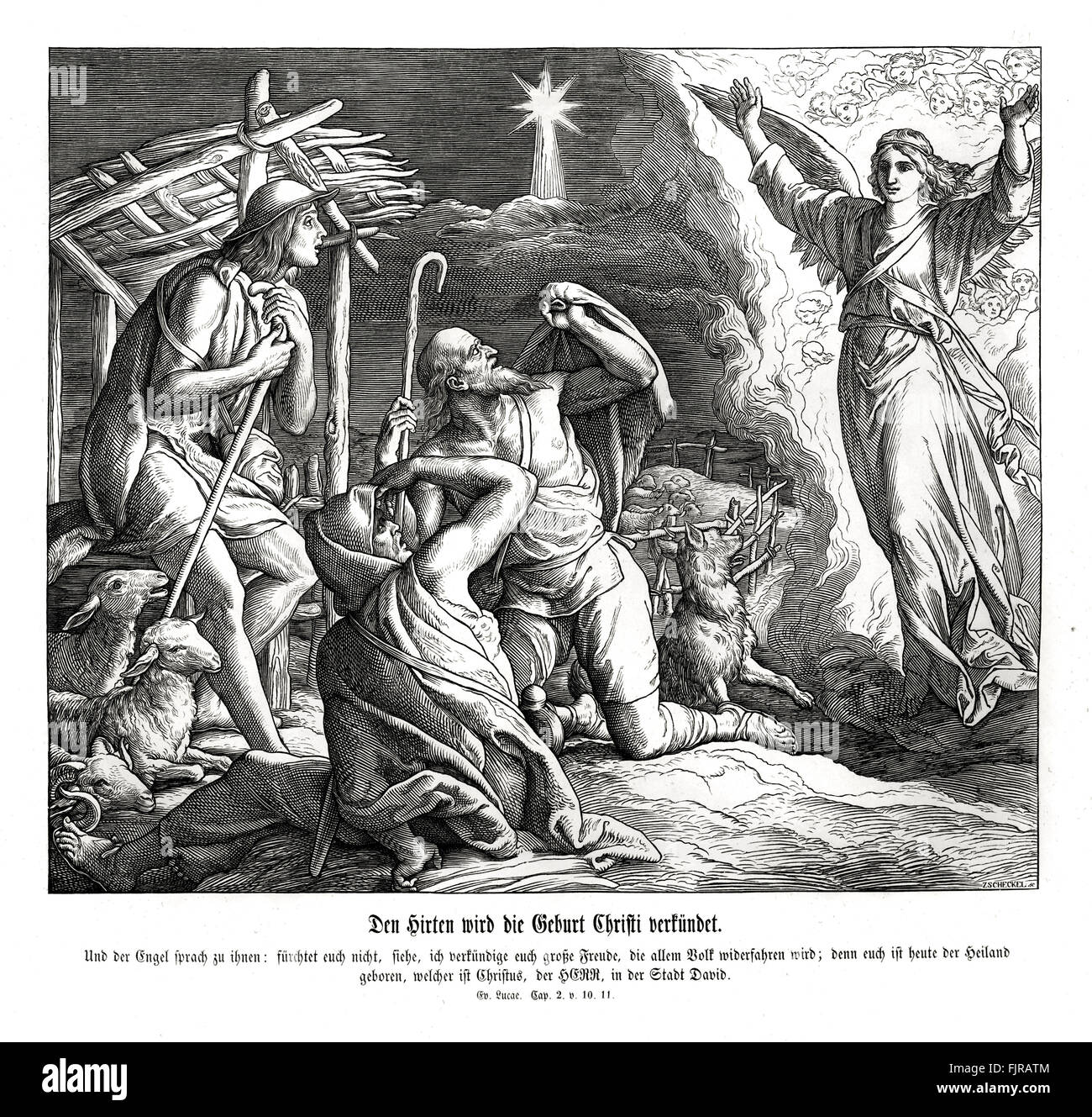 An angel appears to the shepherds, Gospel of Luke chapter II verses 10 - 11 'And the angel said unto them, Fear - Stock Image