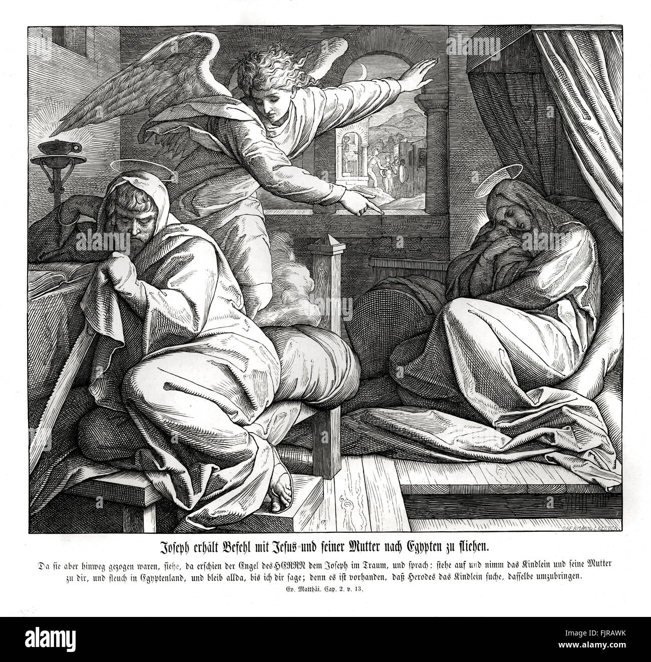 Joseph is warned to flee from King Herod to Egypt, Gospel of Matthew chapter II verse 13 'The angel of the Lord - Stock Image