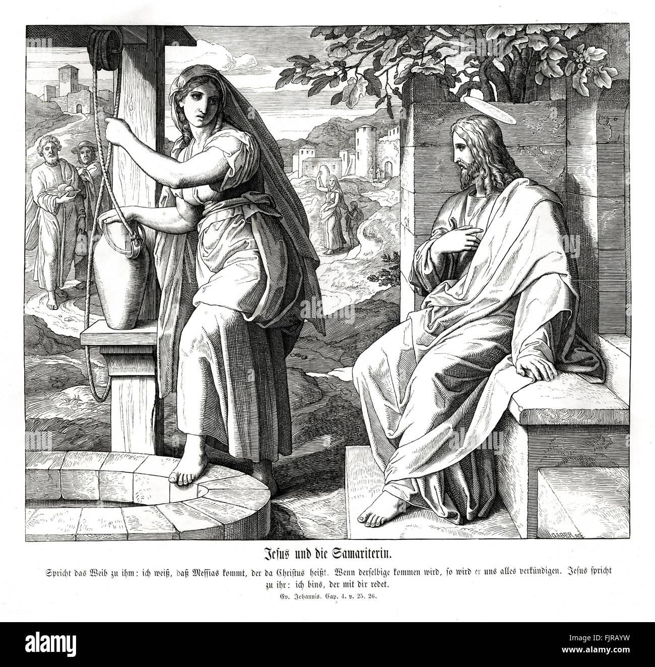 Jesus and the Samaritan woman, Gospel of John chapter IV verses 25 - 26 'The woman saith unto him, I know that - Stock Image