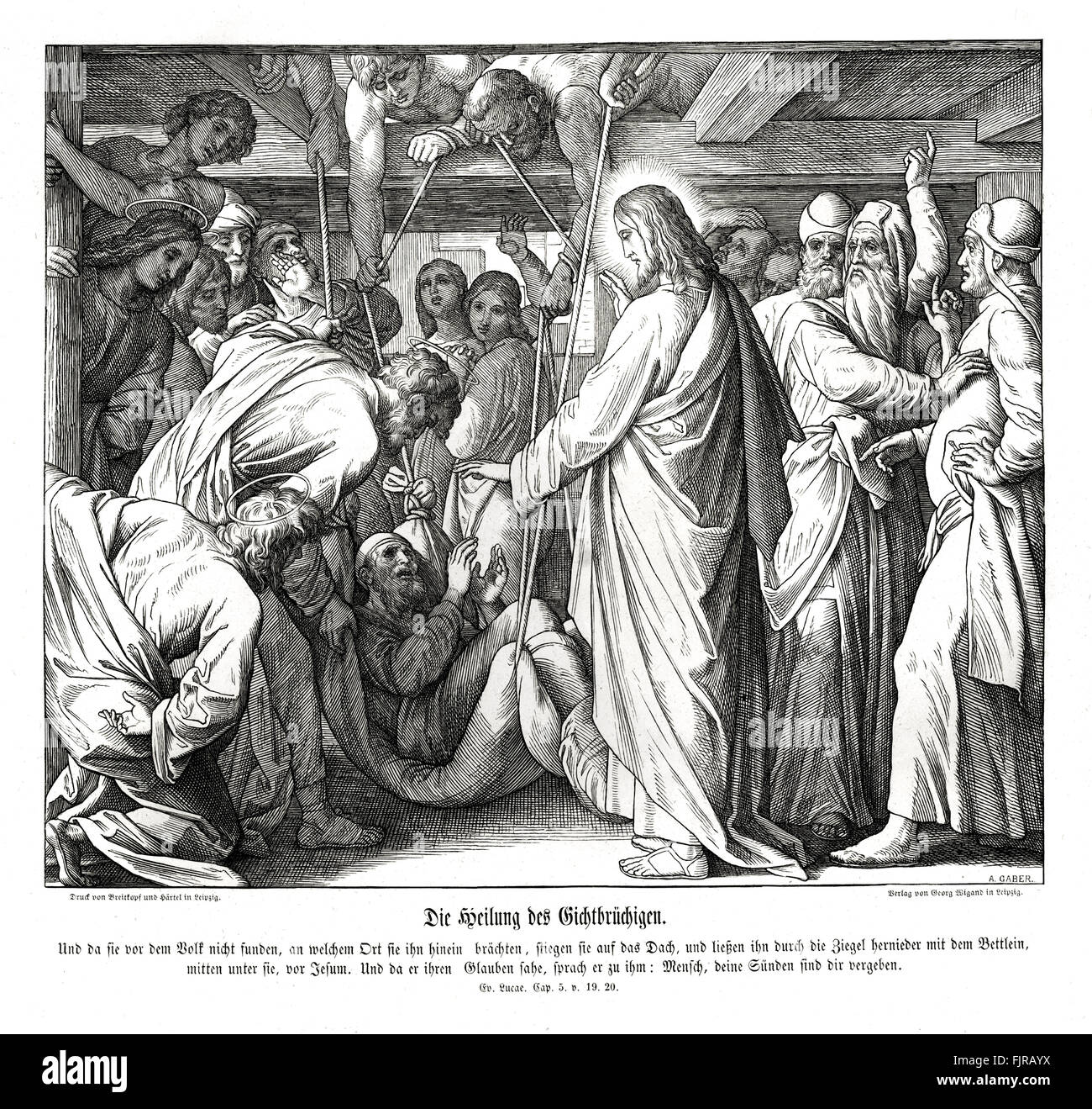 Jesus heals the paralyzed man, Gospel of Luke chapter V verses 19 - 20 'And when they could not find by what - Stock Image