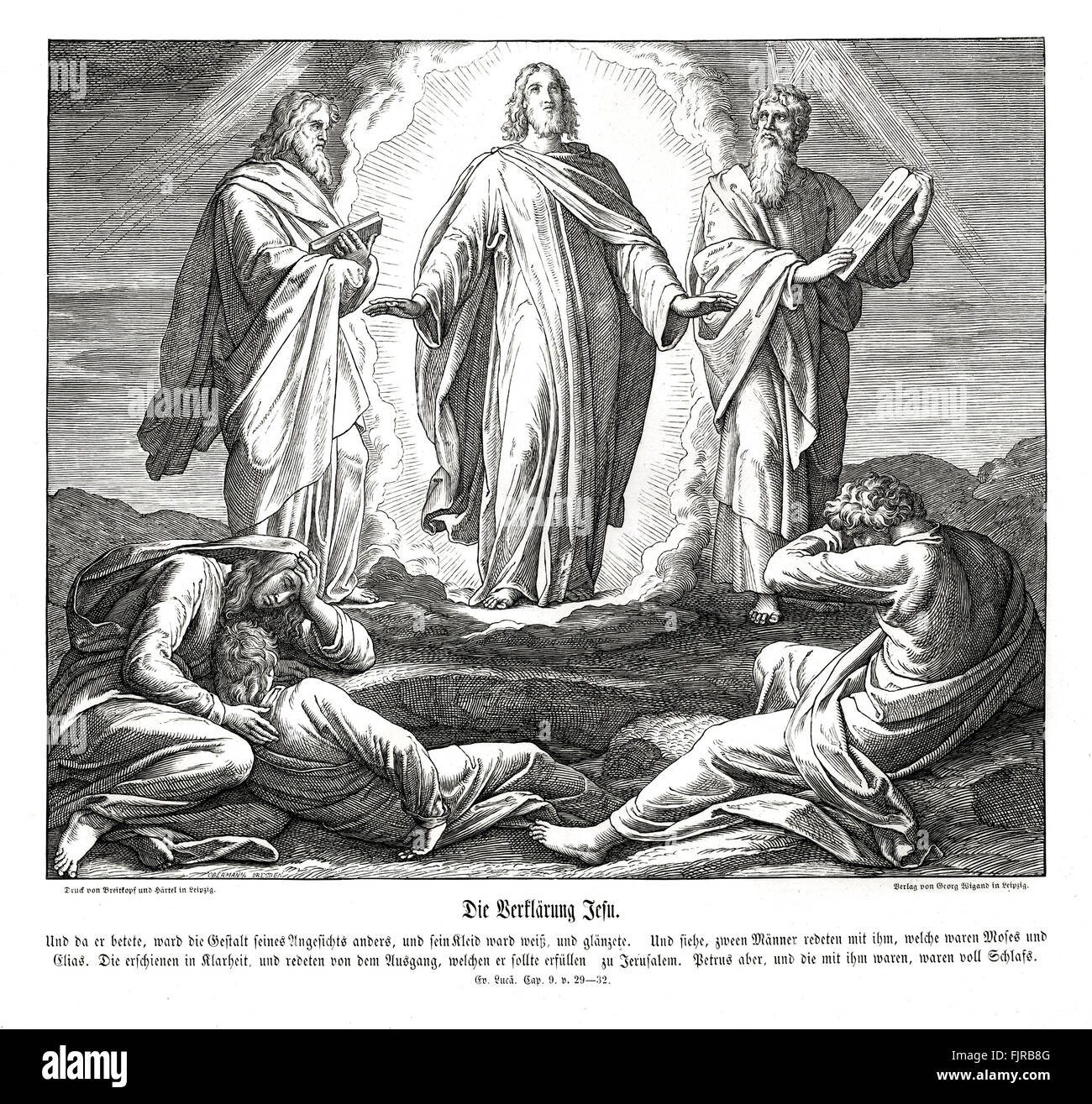 Transfiguration of Jesus, Gospel of Luke chapter IX verses 29 - 32 'And as he prayed, the fashion of his countenance - Stock Image