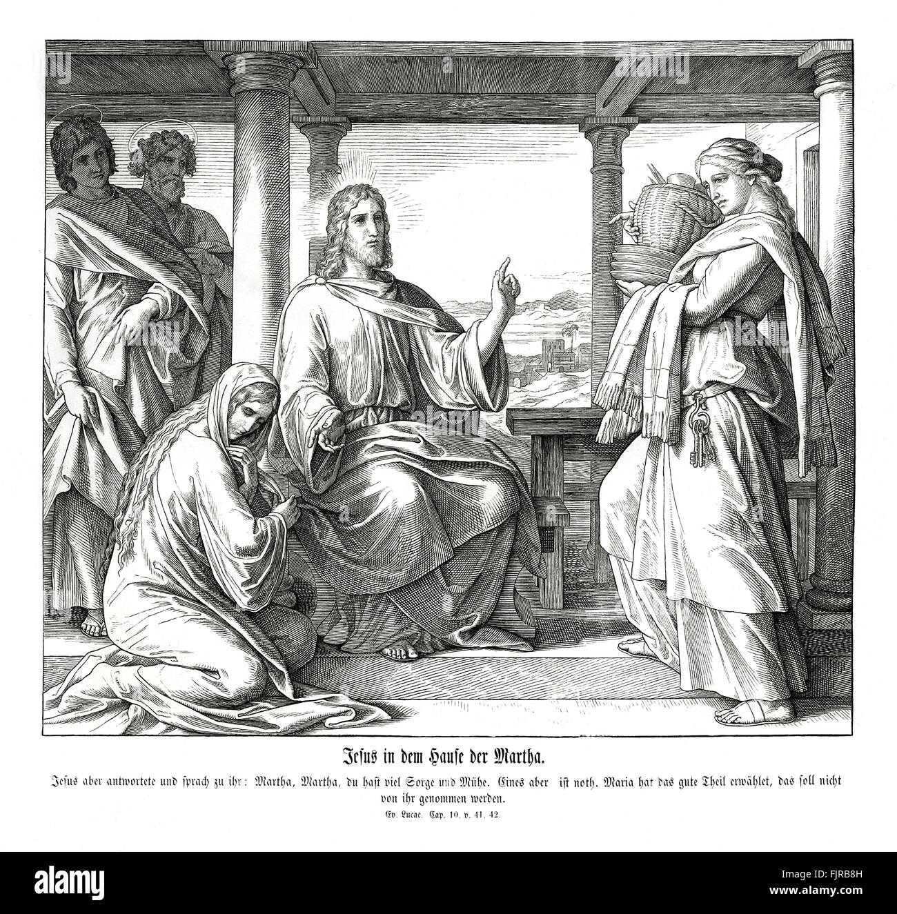 Jesus in the house of Martha, Gospel of Luke chapter X verses 41 - 42 'And Jesus answered and said unto her, - Stock Image