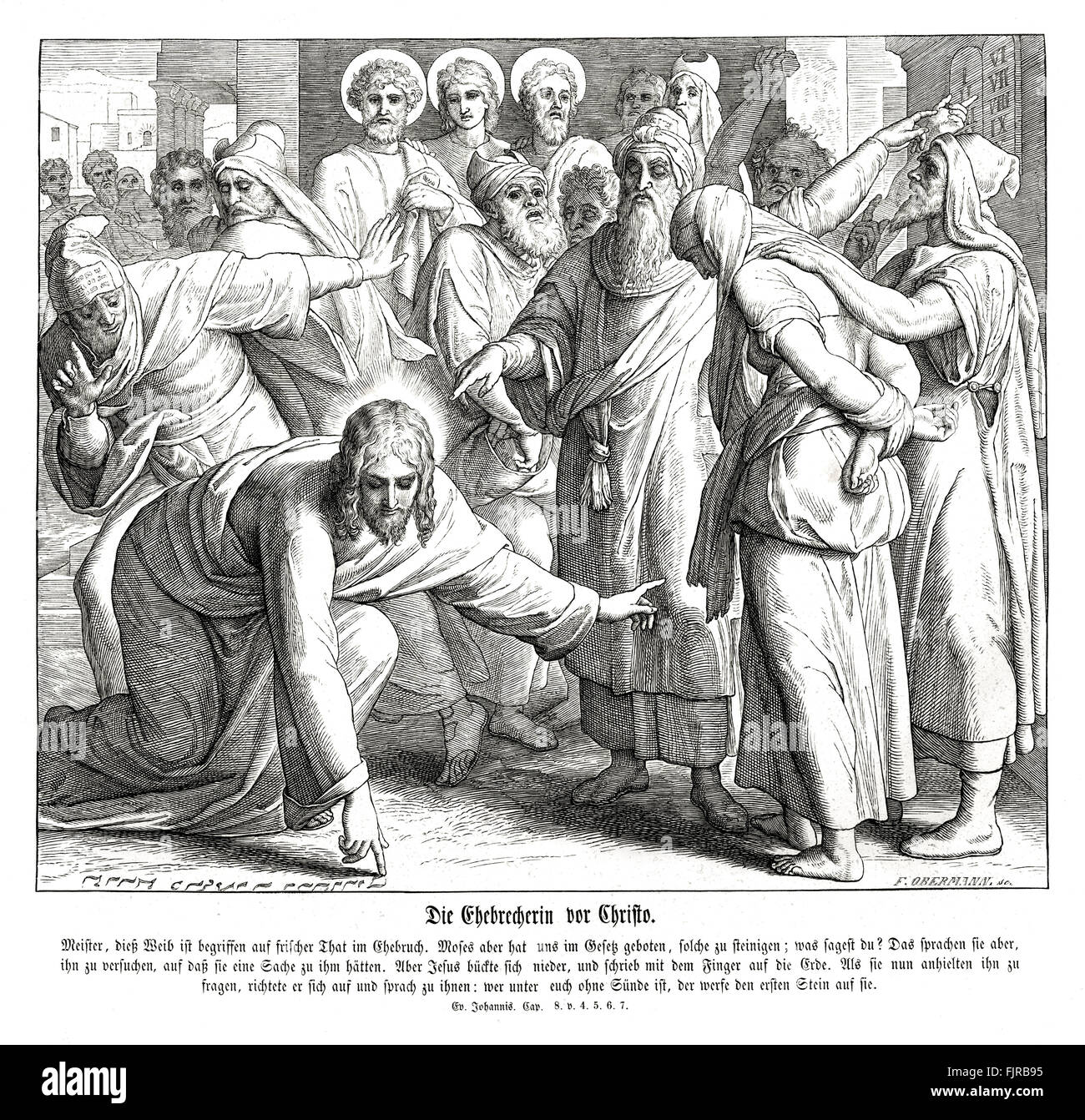 Jesus and the adulterous woman, Gospel of John chapter VIII verses 4 - 7 ' Now Moses in the law commanded us, - Stock Image