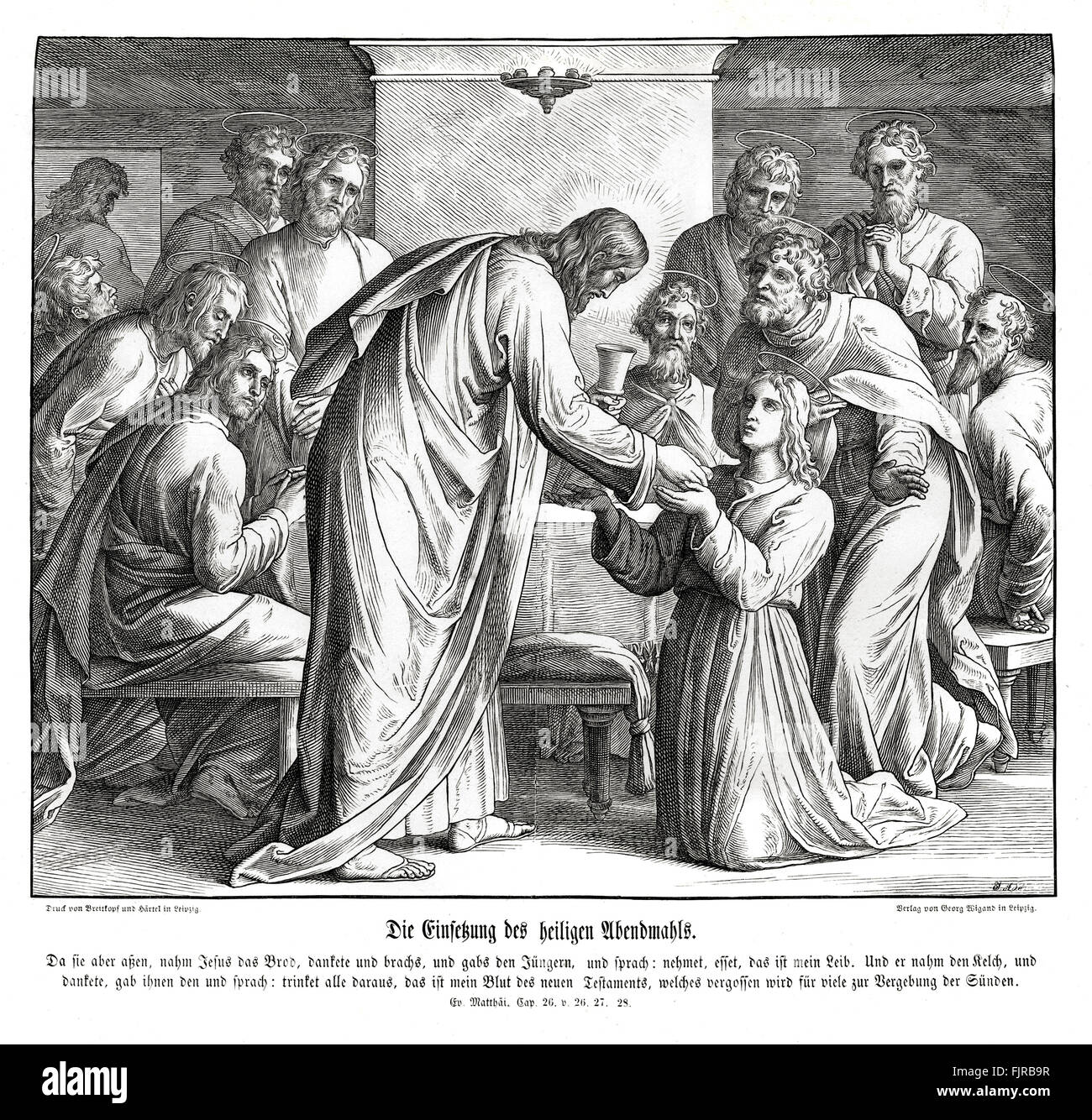 Eucharist, Gospel of Matthew chapter XXVI verses 26 - 27 'And as they were eating, Jesus took bread, and blessed - Stock Image