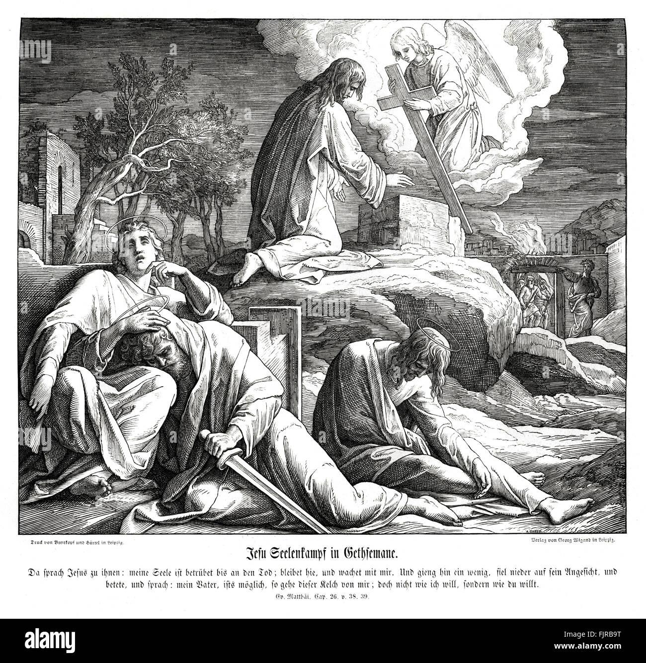 Jesus in the Garden of Gethsemane, Gospel of Matthew chapter XXVI verses 38 - 39 'Then saith he unto them, My - Stock Image