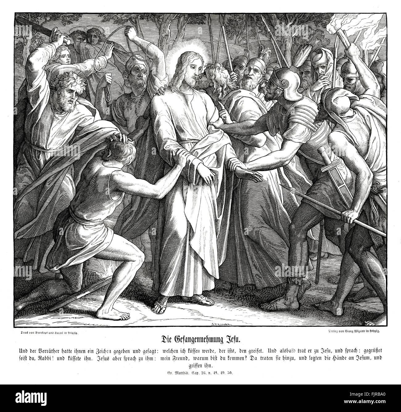 Jesus is betrayed by Judas Iscariot, Gospel of Matthew chapter XXVI verses 48 - 50 'Now he that betrayed him - Stock Image