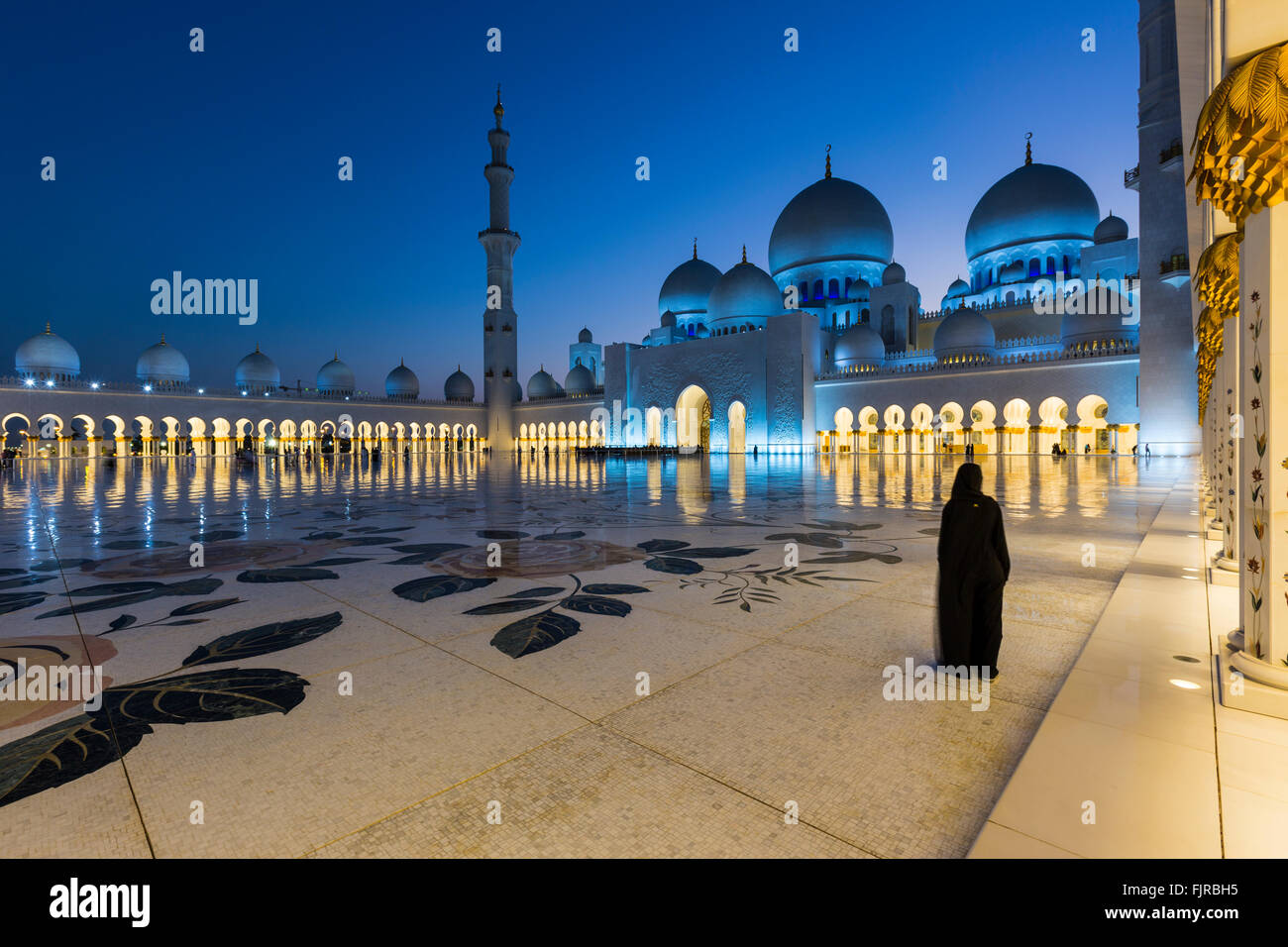 Sheikh Zayed Mosque, Sheikh Zayed Grand Mosque, Abu Dhabi, Emirate of Abu Dhabi, United Arab Emirates - Stock Image
