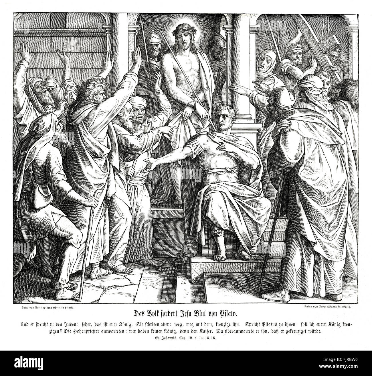 The people demand the death of Jesus from Pilate, Gospel of John chapter XIX verses 14 - 16 'And it was the - Stock Image