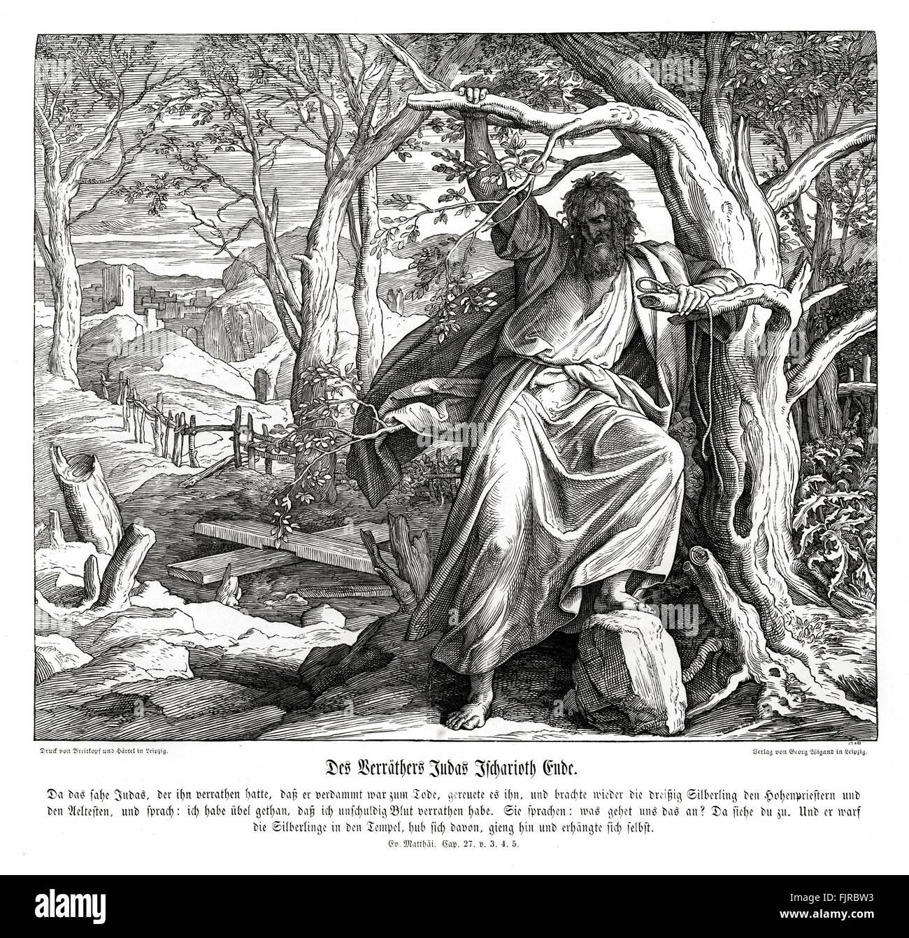 Death of Judas Iscariot, Gospel of Matthew chapter XXVII verses 3 - 5 'Then Judas, which had betrayed him, when - Stock Image