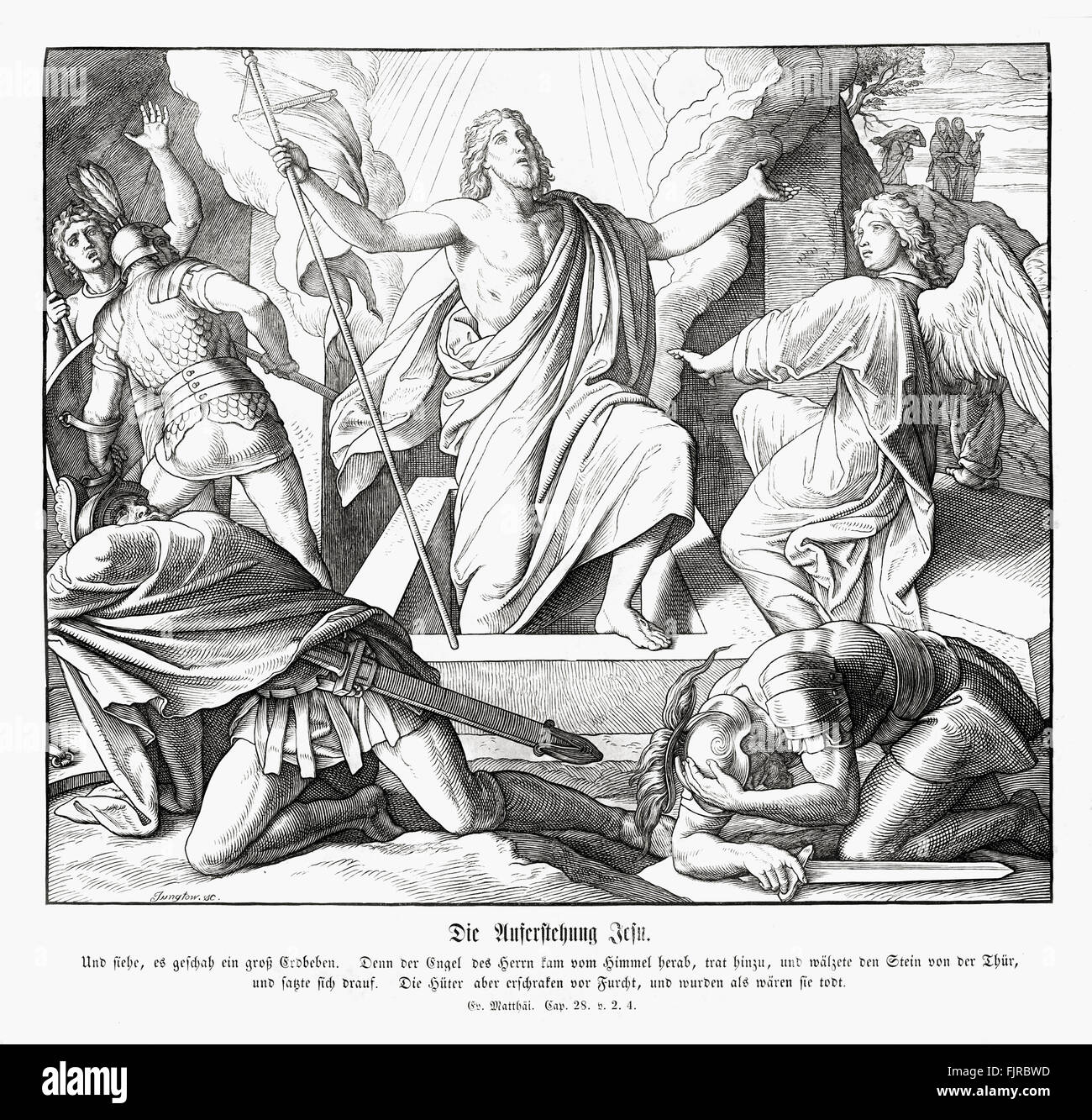 Resurrection of Jesus, Gospel of Matthew chapter XXVIII verses 2 - 4 'And, behold, there was a great earthquake: - Stock Image