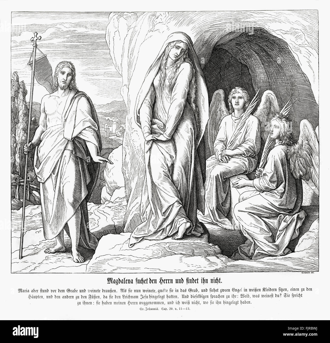 Mary Magdalene at Jesus' tomb, Gospel of John chapter XX verses 11 - 13 'But Mary stood without at the sepulchre - Stock Image