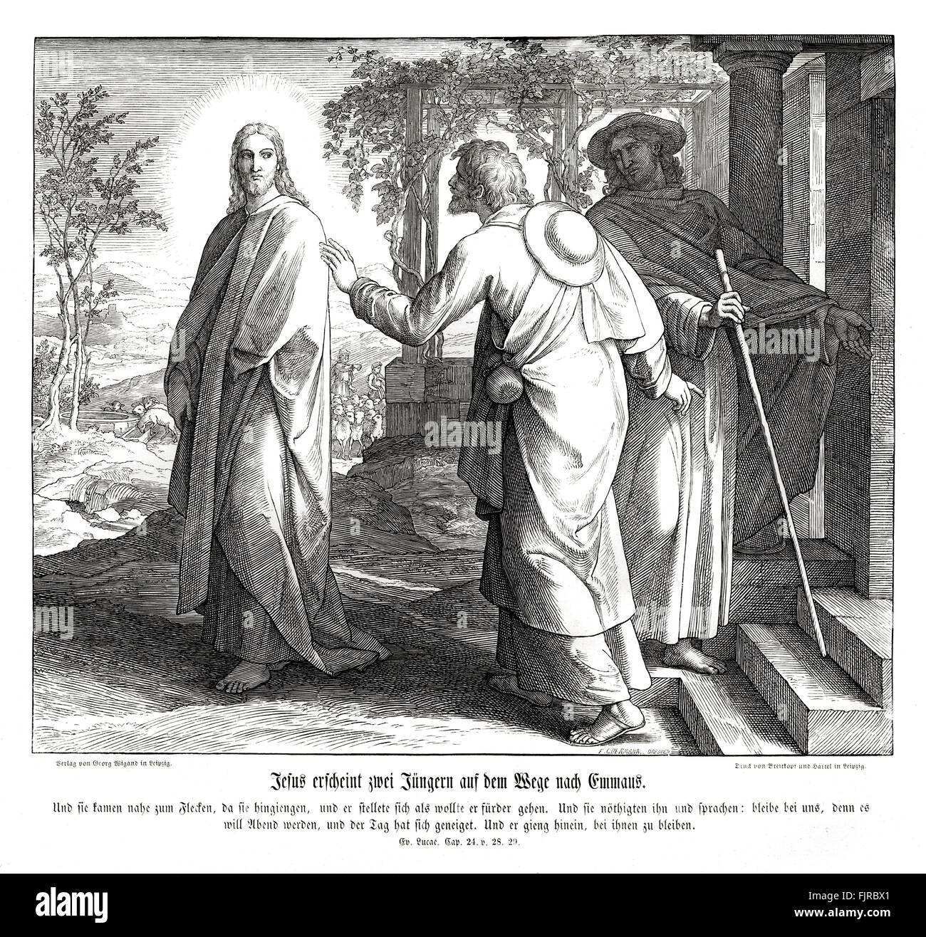 Jesus appears to two disciples on the road to Emmaus, Gospel of Luke chapter XXIV verses 28 - 29 'And they drew - Stock Image