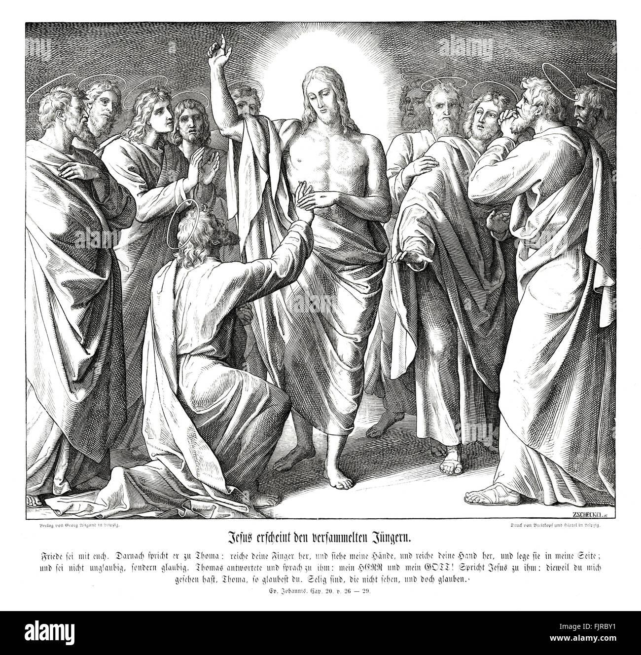 Doubting Thomas, Gospel of John chapter XX verses 26 - 29 ' Then saith he to Thomas, Reach hither thy finger, - Stock Image