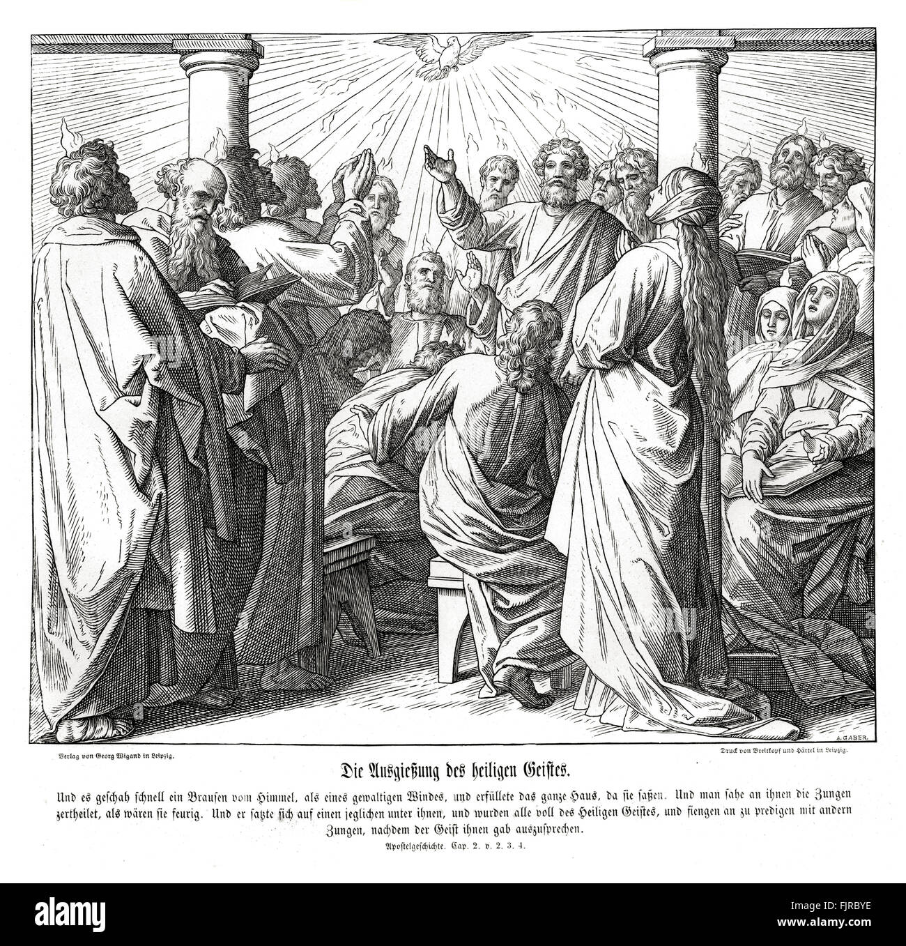 The apostles are filled with the holy ghost, Acts chapter II verses 2 - 4 'And suddenly there came a sound from - Stock Image