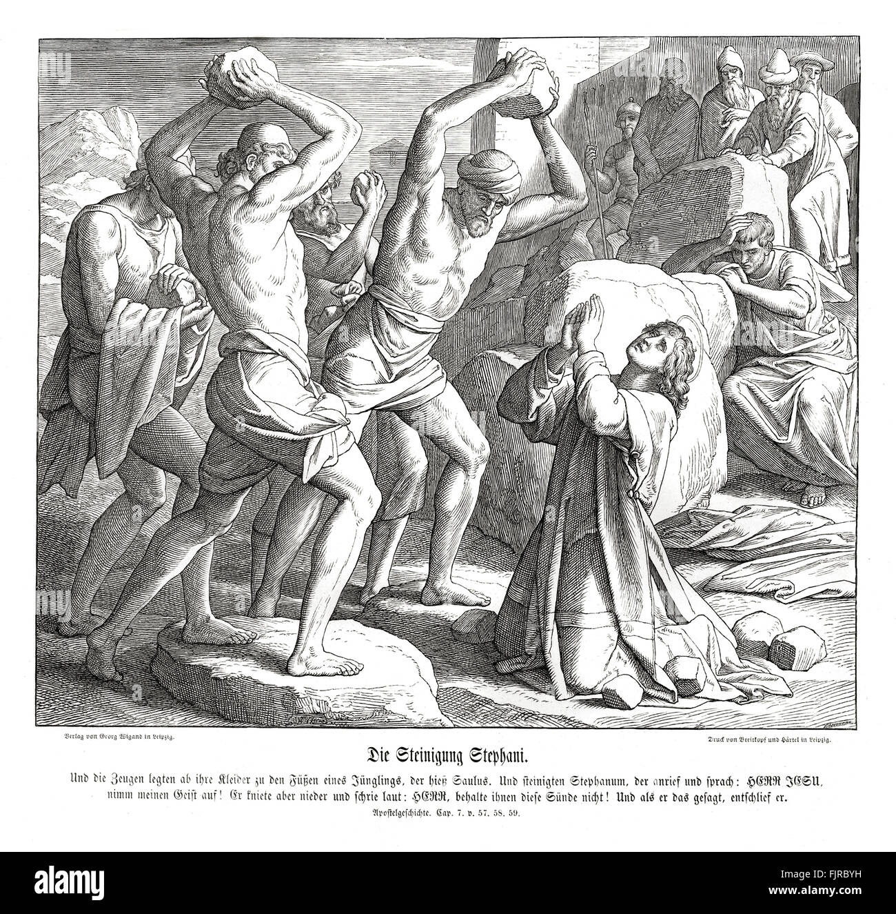 Stoning of Stephen, Acts chapter VII verses 57 - 59 'Then they cried out with a loud voice, and stopped their - Stock Image