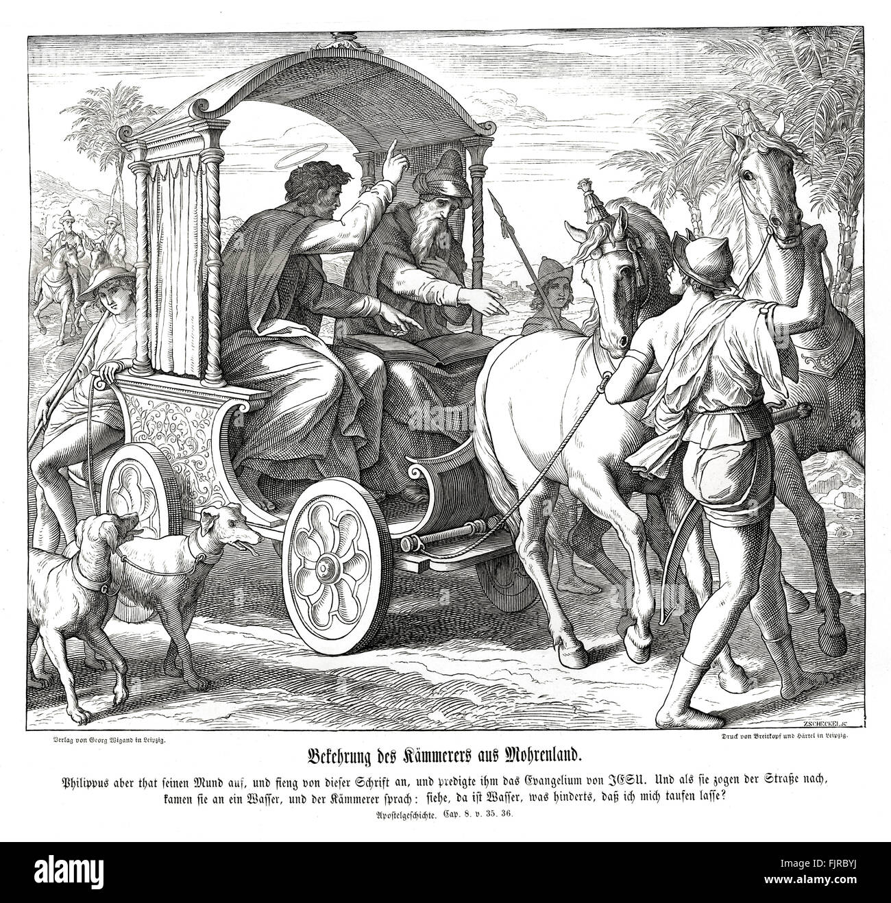 Conversion of the chamberlain from Ethiopia, Acts chapter VIII verses 35 - 36 'And Philip said, If thou believest - Stock Image
