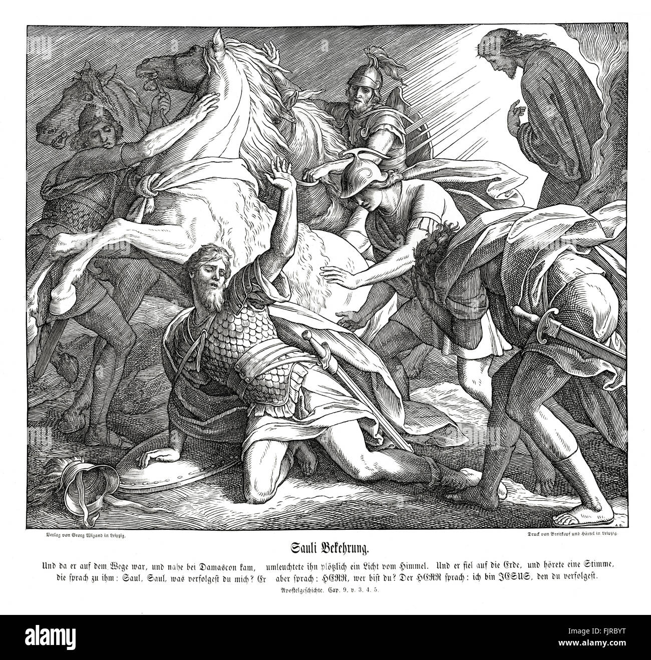 Saul on the road to Damascus, Acts chapter IX verses 3 - 5 'And as he journeyed, he came near Damascus: and - Stock Image