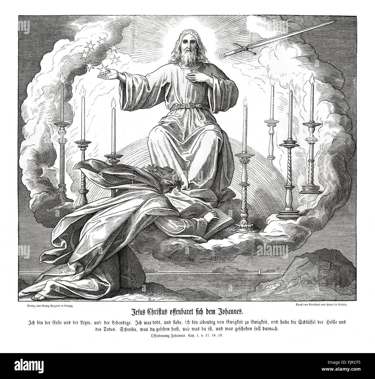 Jesus Christ reveals himself to John, Revelation of John chapter I verses 17 - 19 'And when I saw him, I fell - Stock Image