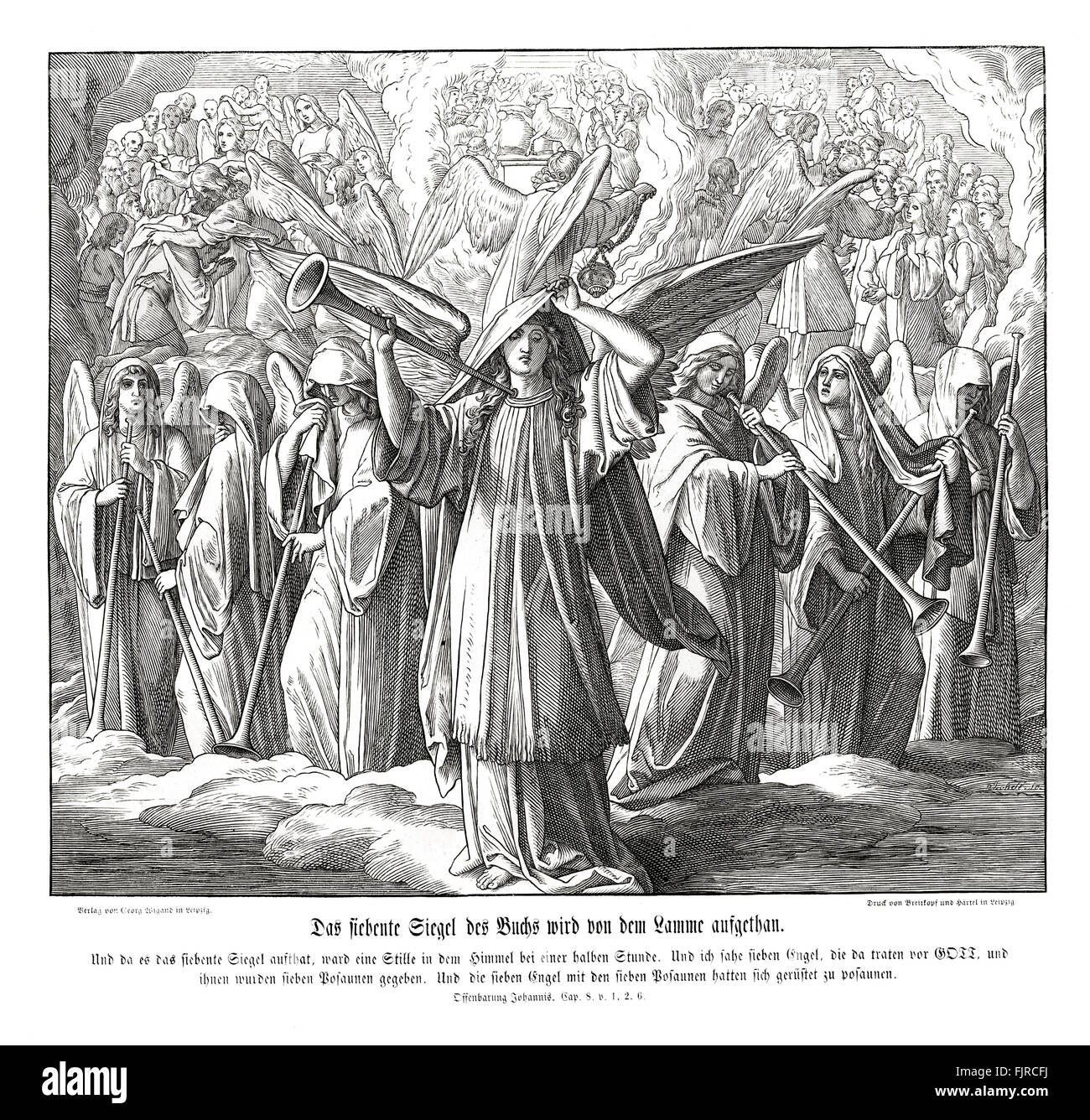 Opening of the seven-sealed book by the Lamb, Revelation of John chapter VIII verses 1 - 2 'And when he had - Stock Image
