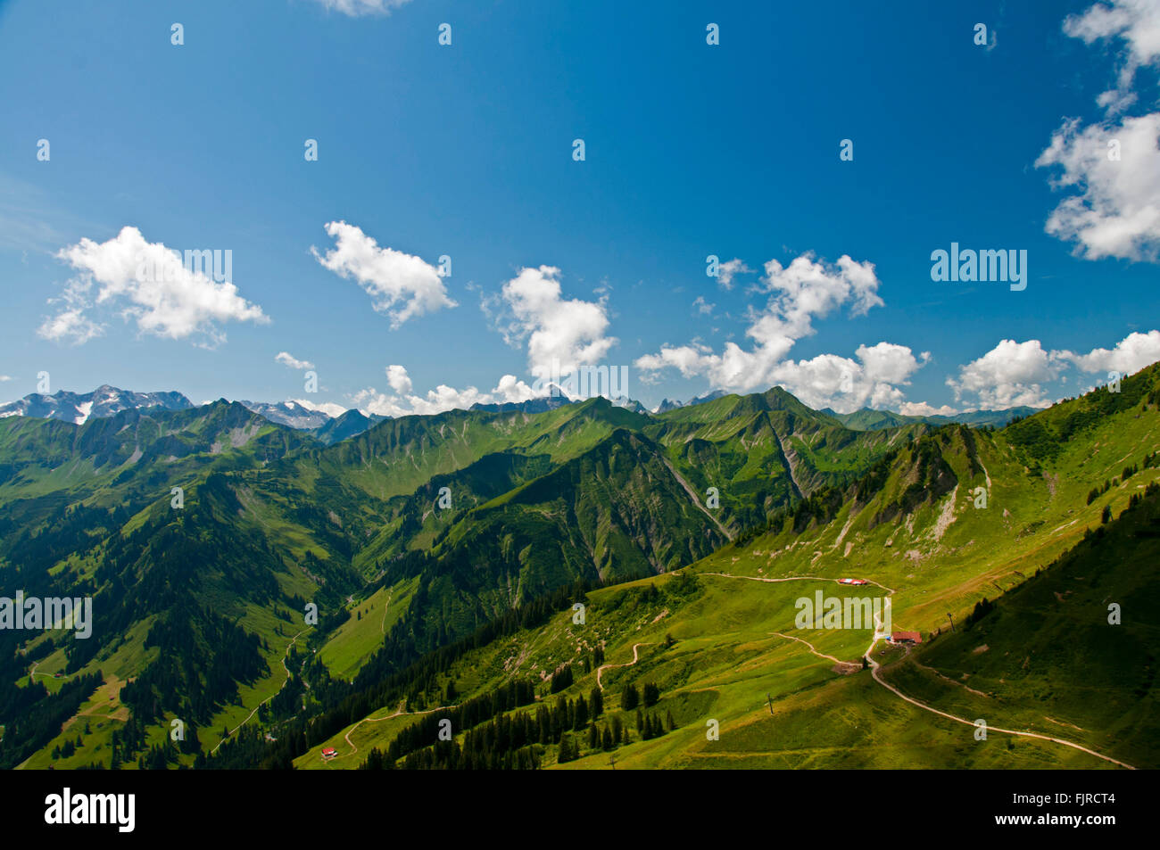 geography / travel, Austria, Vorarlberg, landscapes, view from the Walmendinger Horn south to the Lüchtle Alp, - Stock Image