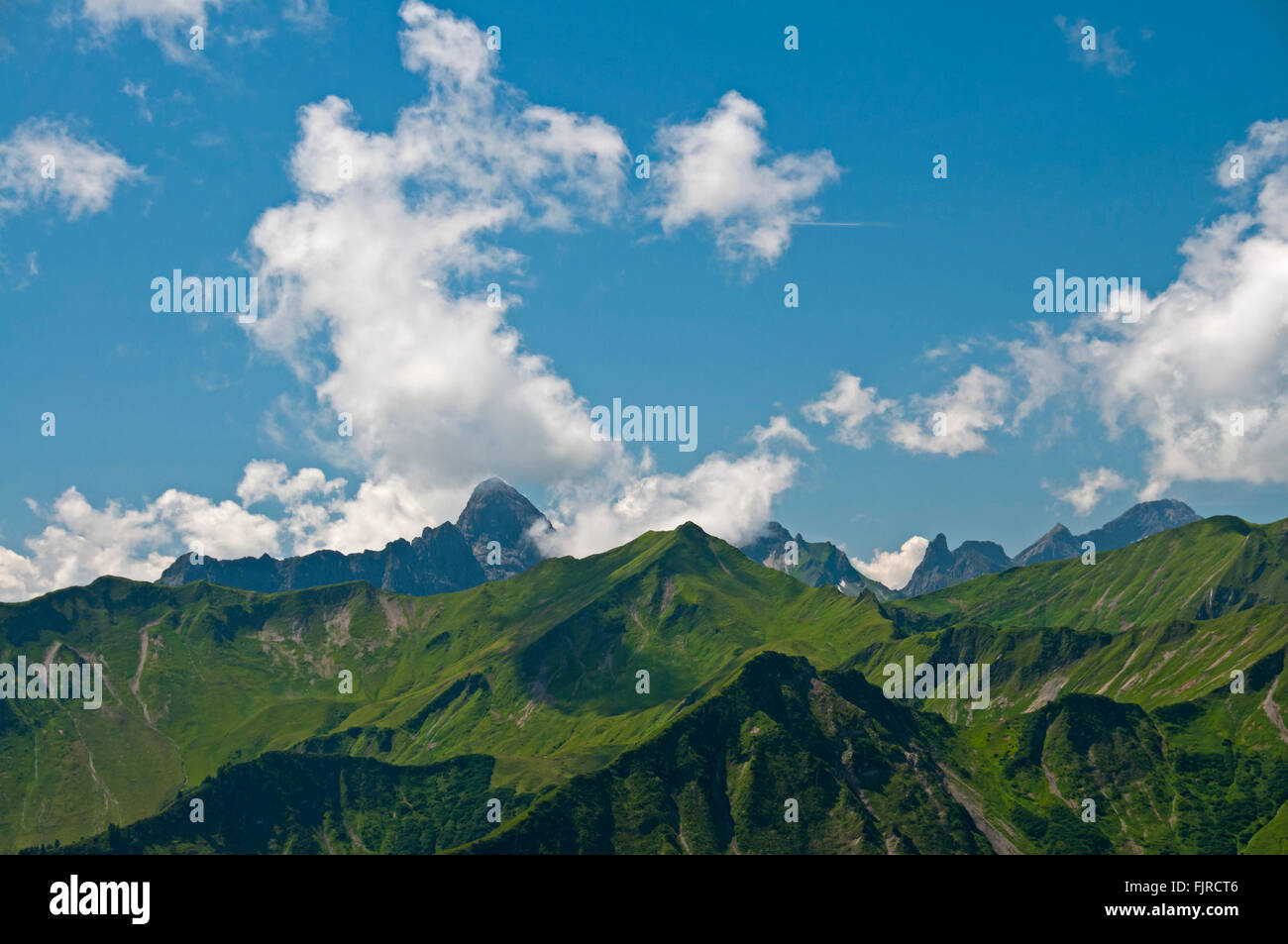 geography / travel, Austria, Vorarlberg, landscapes, view from the Walmendinger Horn to the Hochkünzelspitze, - Stock Image