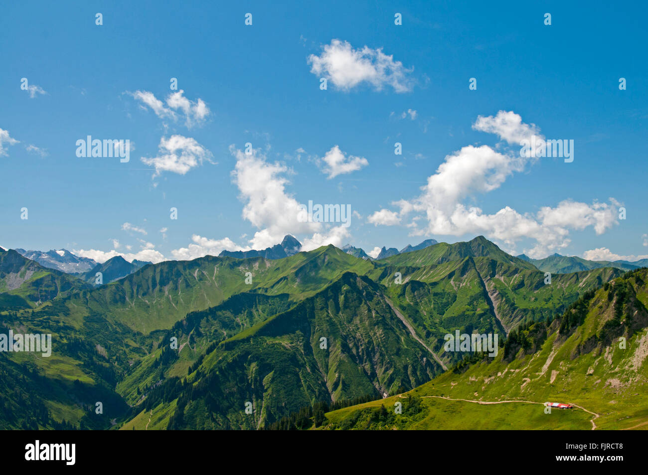 geography / travel, Austria, Vorarlberg, landscapes, view from the Walmendinger Horn to the Widderstein, Additional - Stock Image