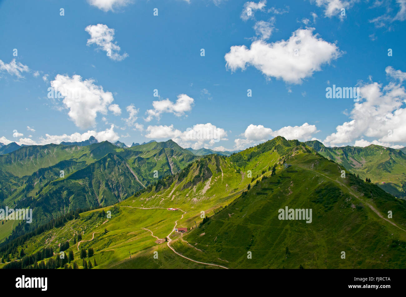 geography / travel, Austria, Vorarlberg, landscapes, view from the Walmendinger Horn south to the Lüchtle Alp - Stock Image