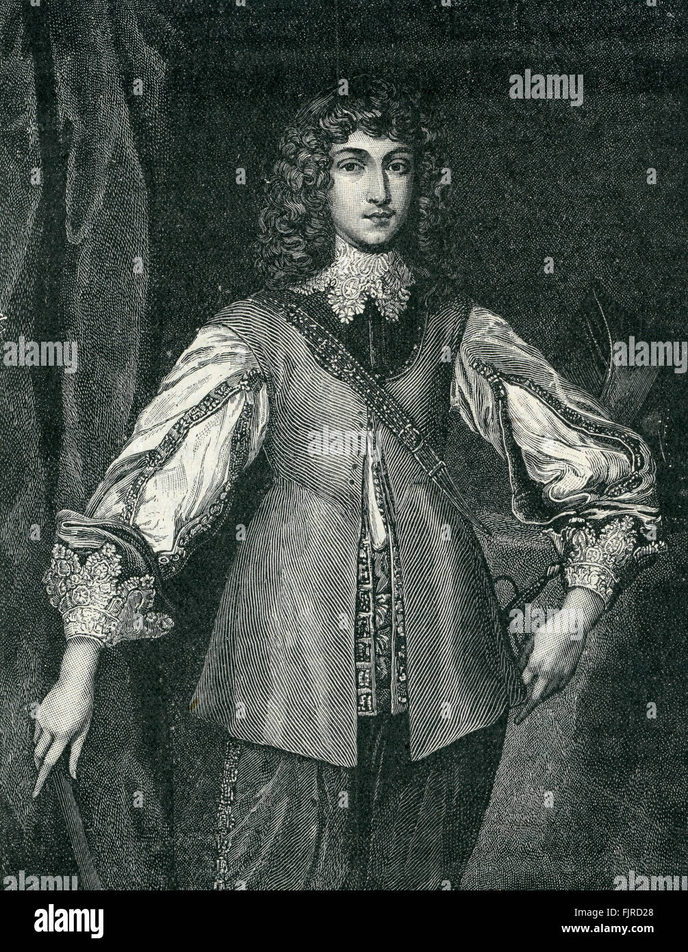 Prince Rupert (1619 – 1682), commander of the Royalist cavalry during the English Civil War, until 1648 (1642–1651). - Stock Image