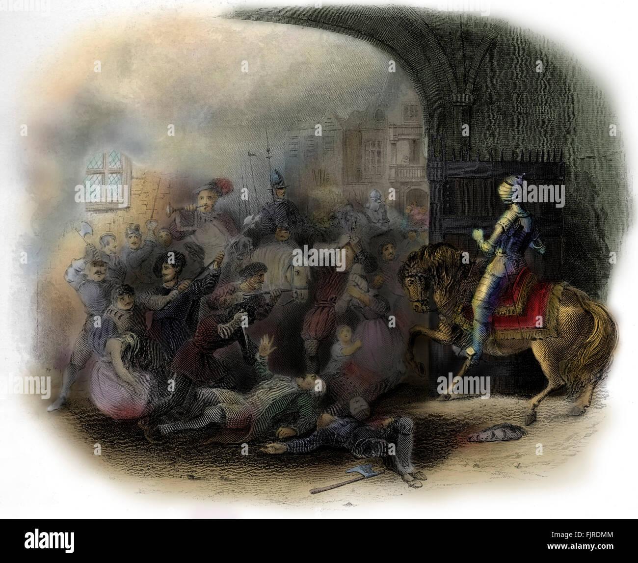 St. Bartholomews Day massacre, 1572. Stock Photo